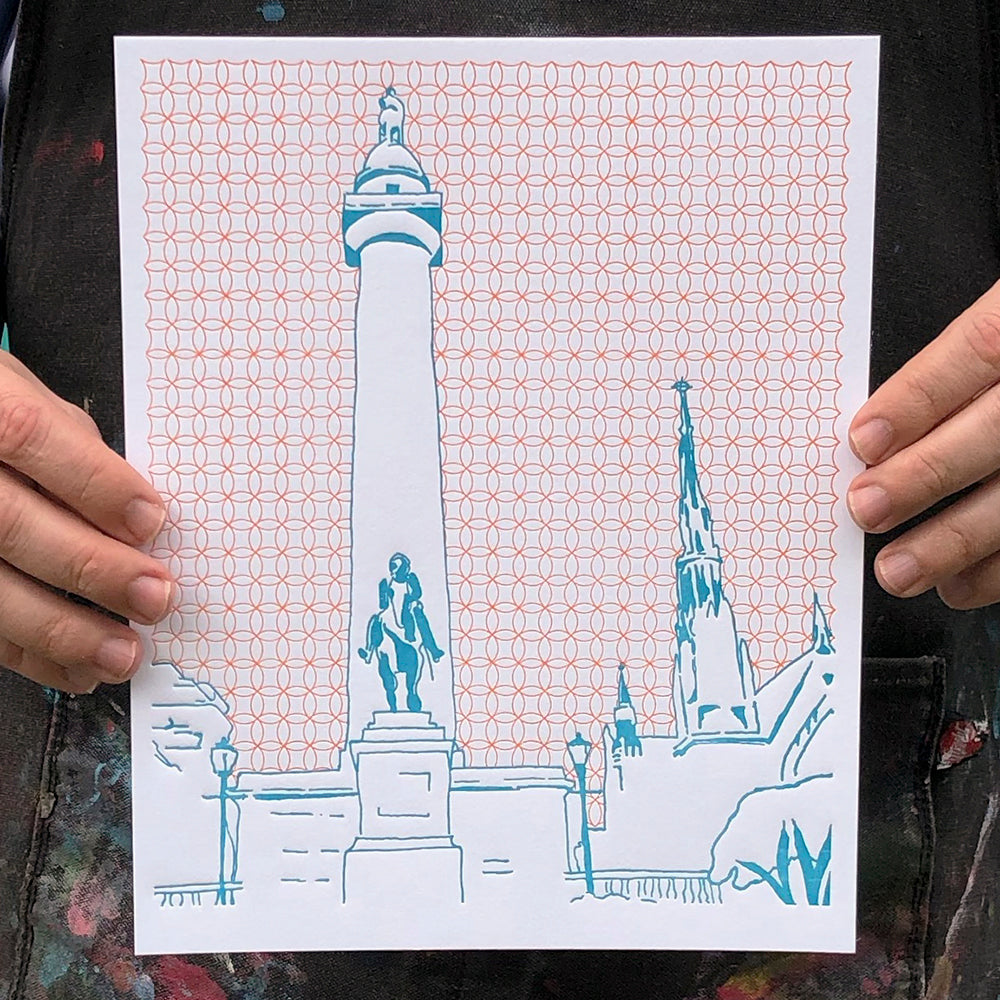 "Baltimore Maryland | Washington Monument | Letterpress 8""x10"" Poster"
