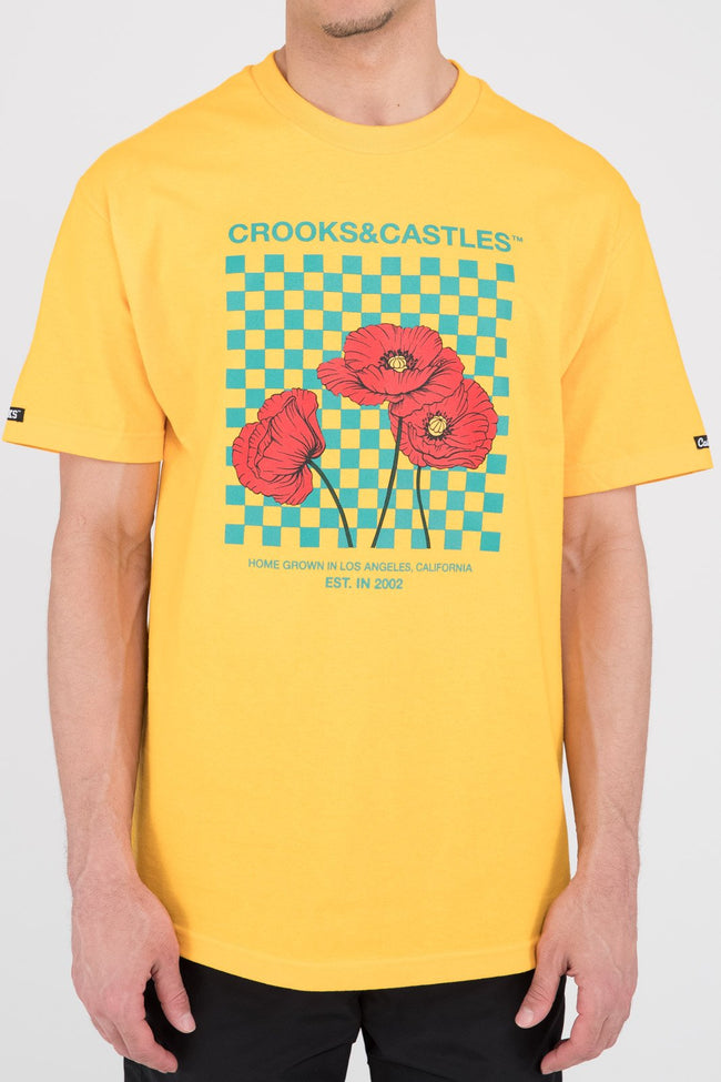 Mens Poppy Checkered Tee (Gold)