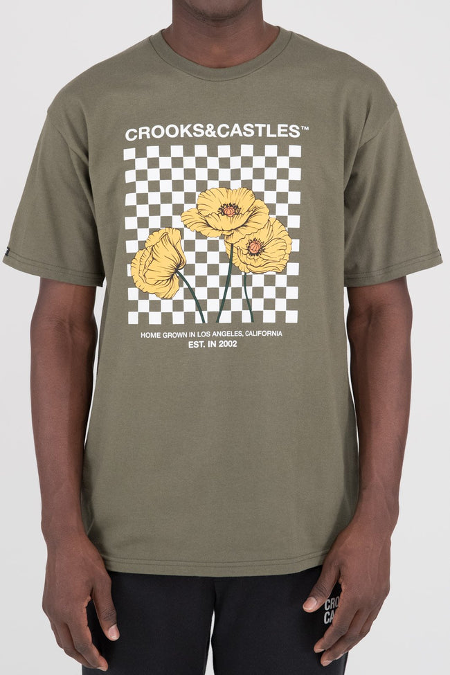 Mens Poppy Checkered Tee (Olive)