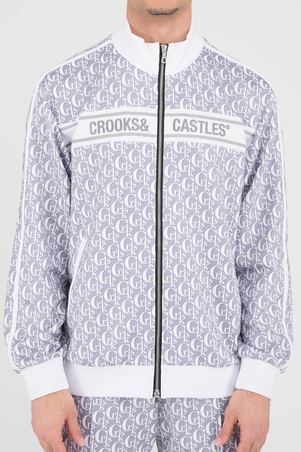 Mens Monogram Track Jacket (Grey/White)