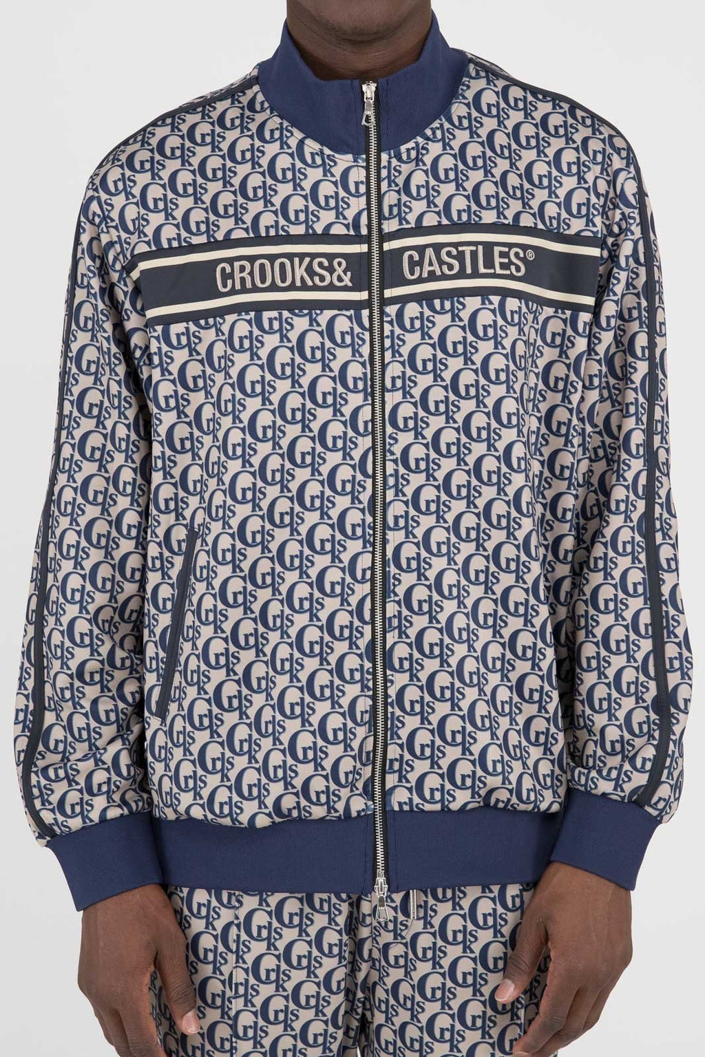 Mens Monogram Track Jacket (Khaki/Navy)
