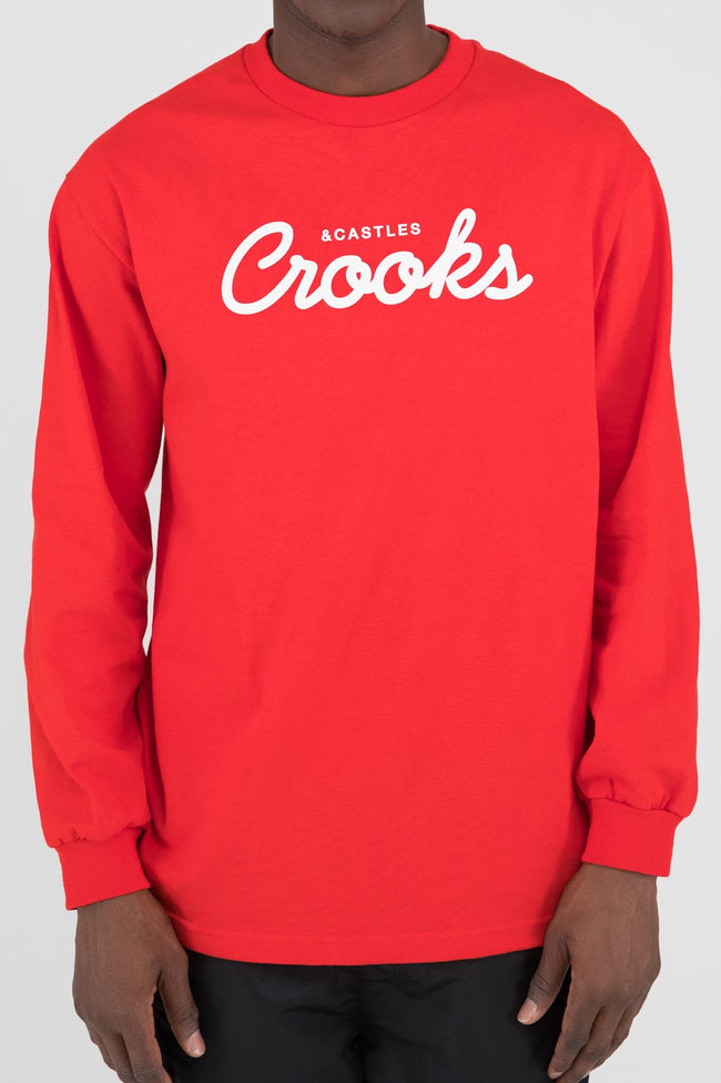 Mens New Team Crooks L/S Tee (Red)