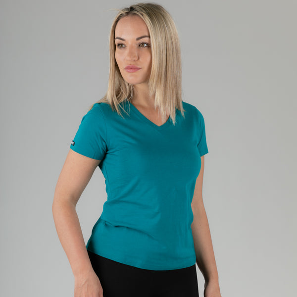 Ladies Essential V-Neck Tee - Harbour Blue