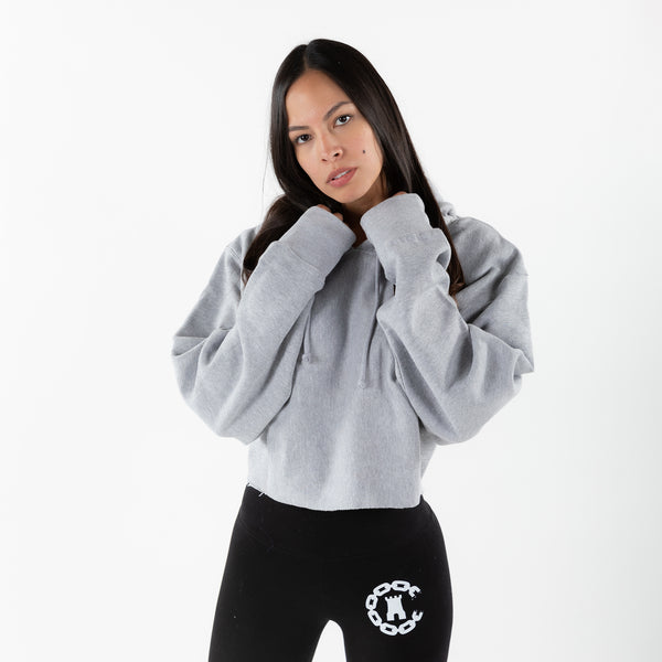 Ladies Essential Crop Hoodie - Heather Grey