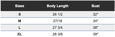 Chic Tank Top Sizing Chart