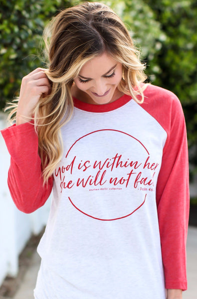 She Will Not Fail 3/4 Sleeve Raglan Tee