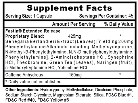 Fastin-XR Supplement Facts