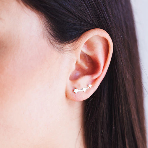 Triple Star Ear Climber on model - sterling silver