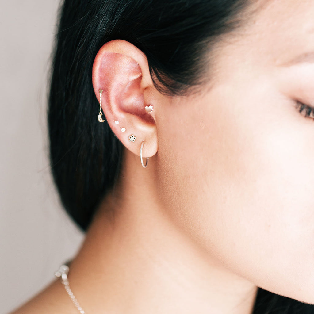 Heart Piercing on model - 14K solid rose gold