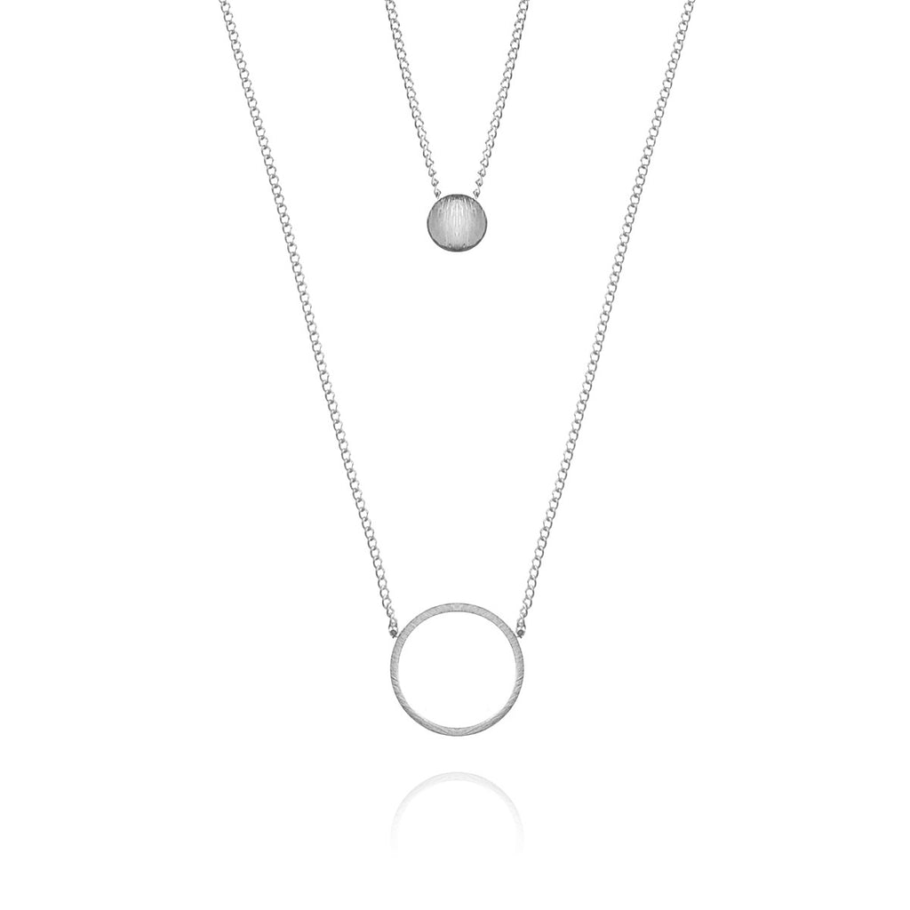 Twin Eclipse Necklace - Silver