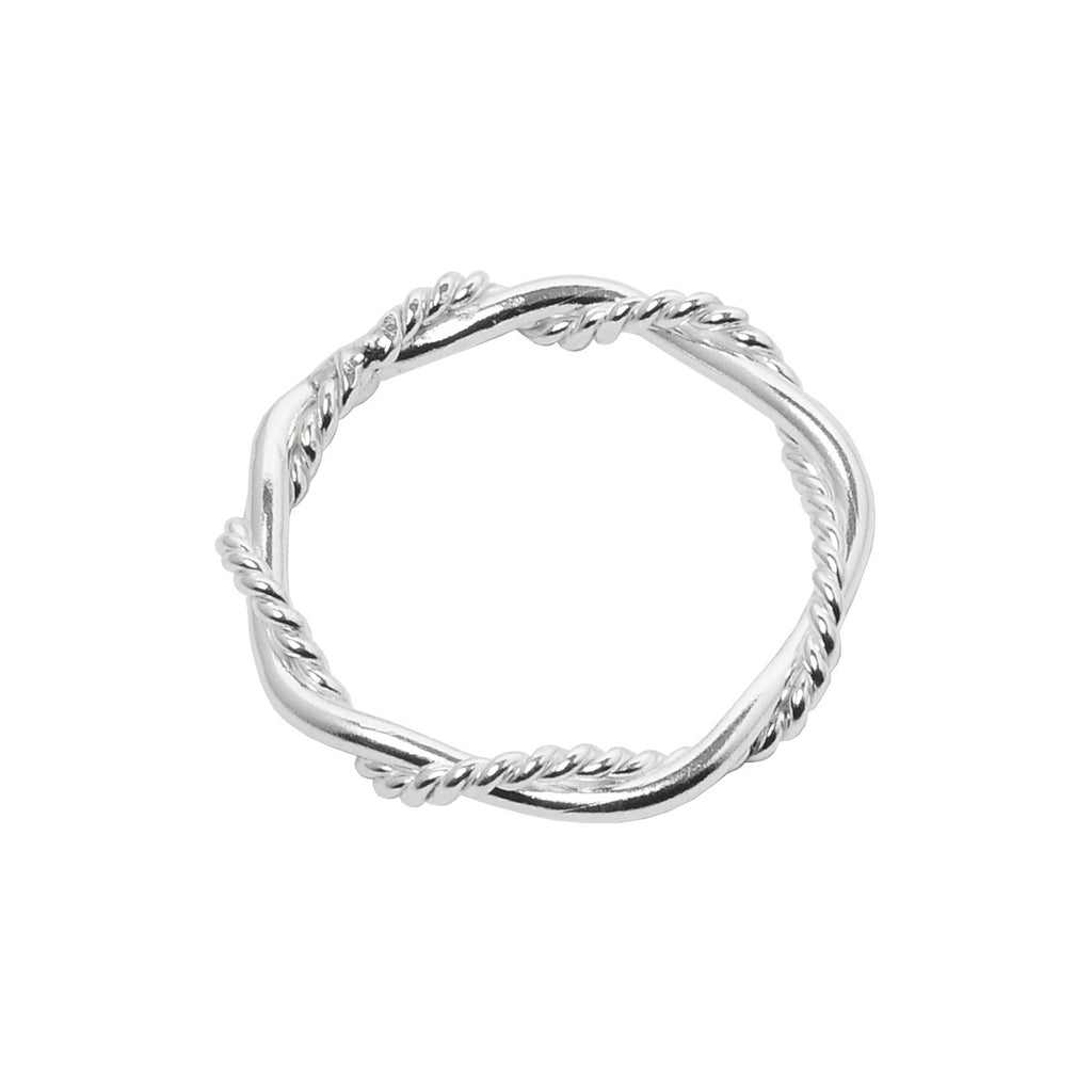 Barbwire Twist Ring side view - sterling silver