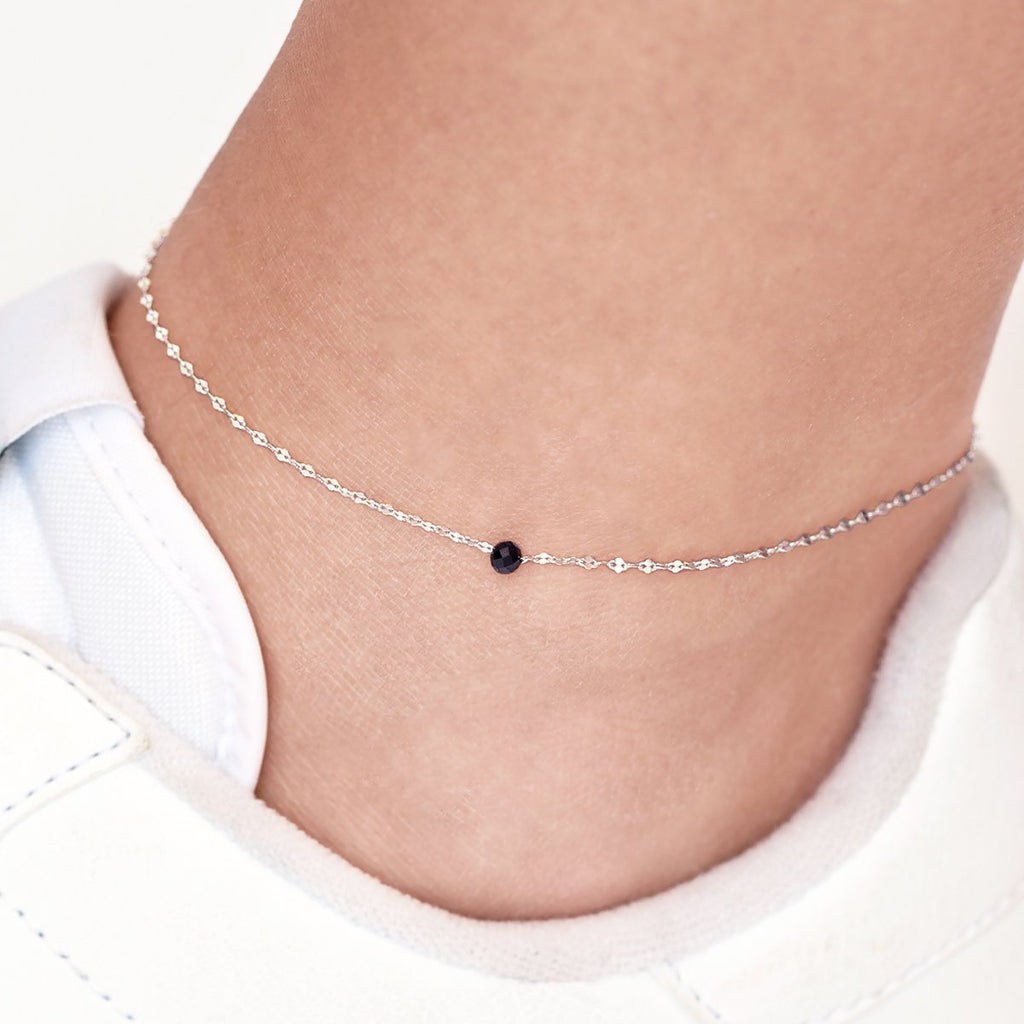 Deco Anklet on model - sterling silver