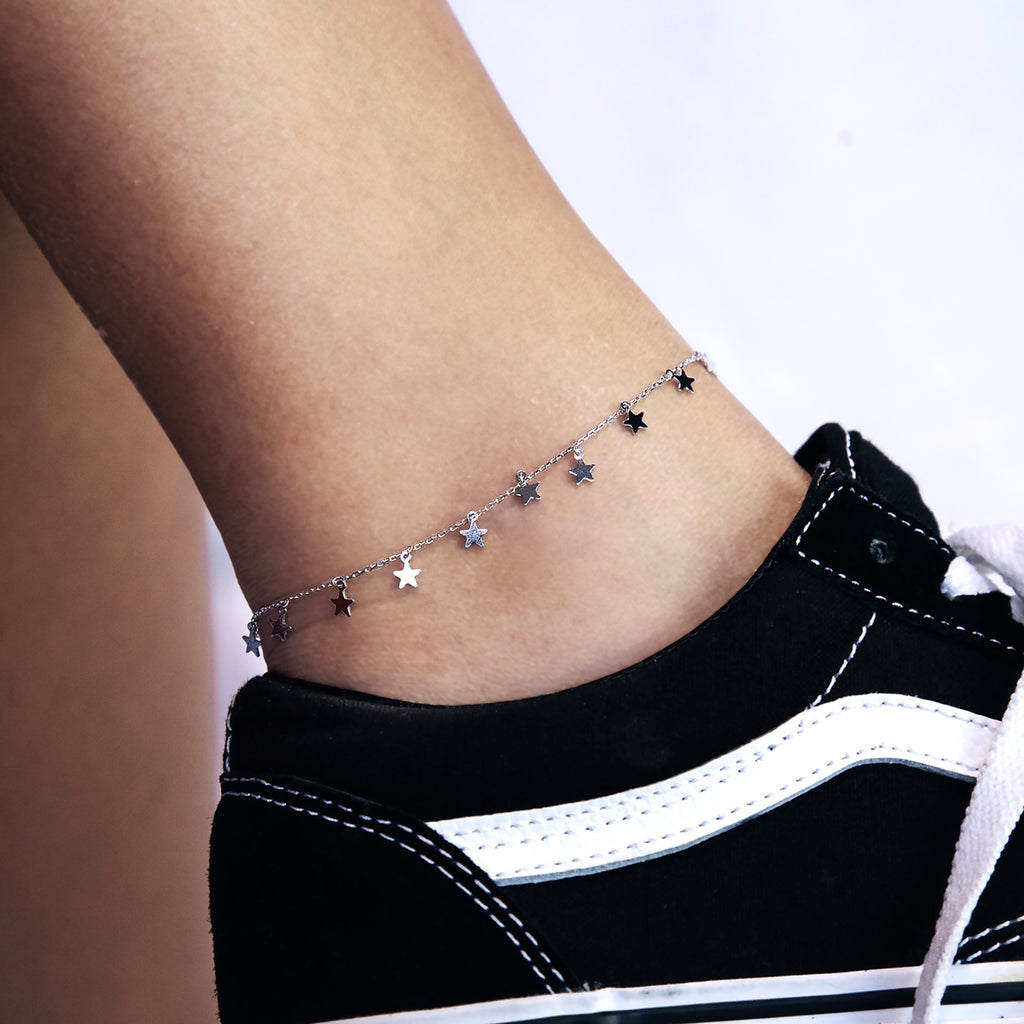 Eternity Star Anklet on model - silver