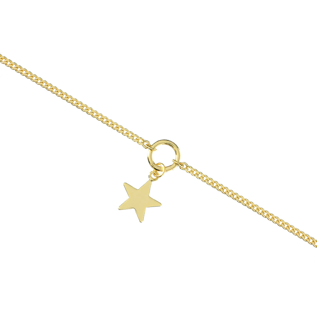 Galactic Star Pendant Anklet - gold