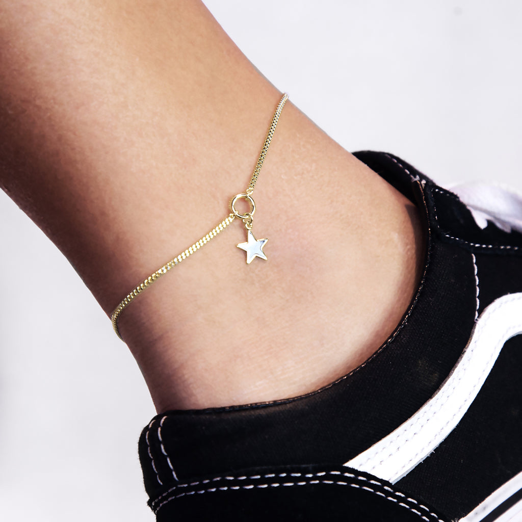 Galactic Star Pendant Anklet on model - gold
