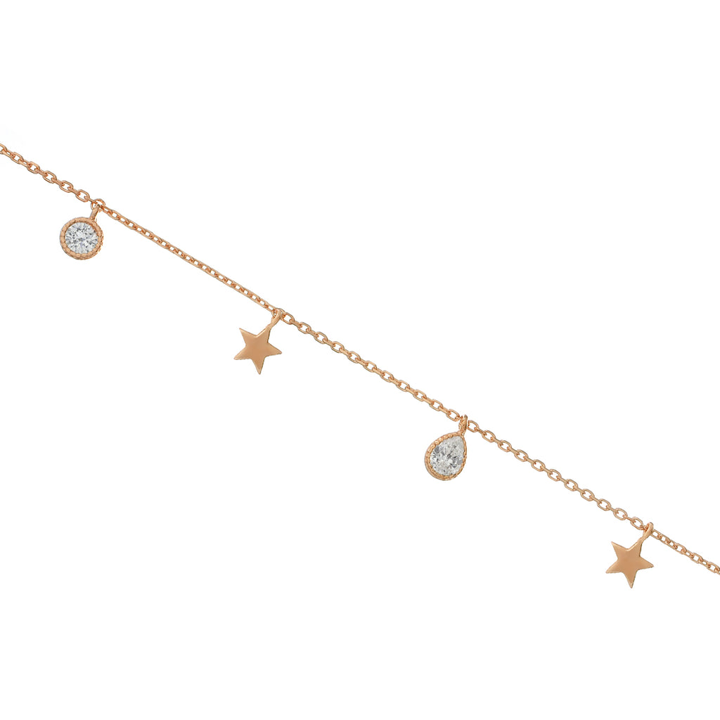 Nocturne Star & Gemstone Anklet - rose gold/sterling silver