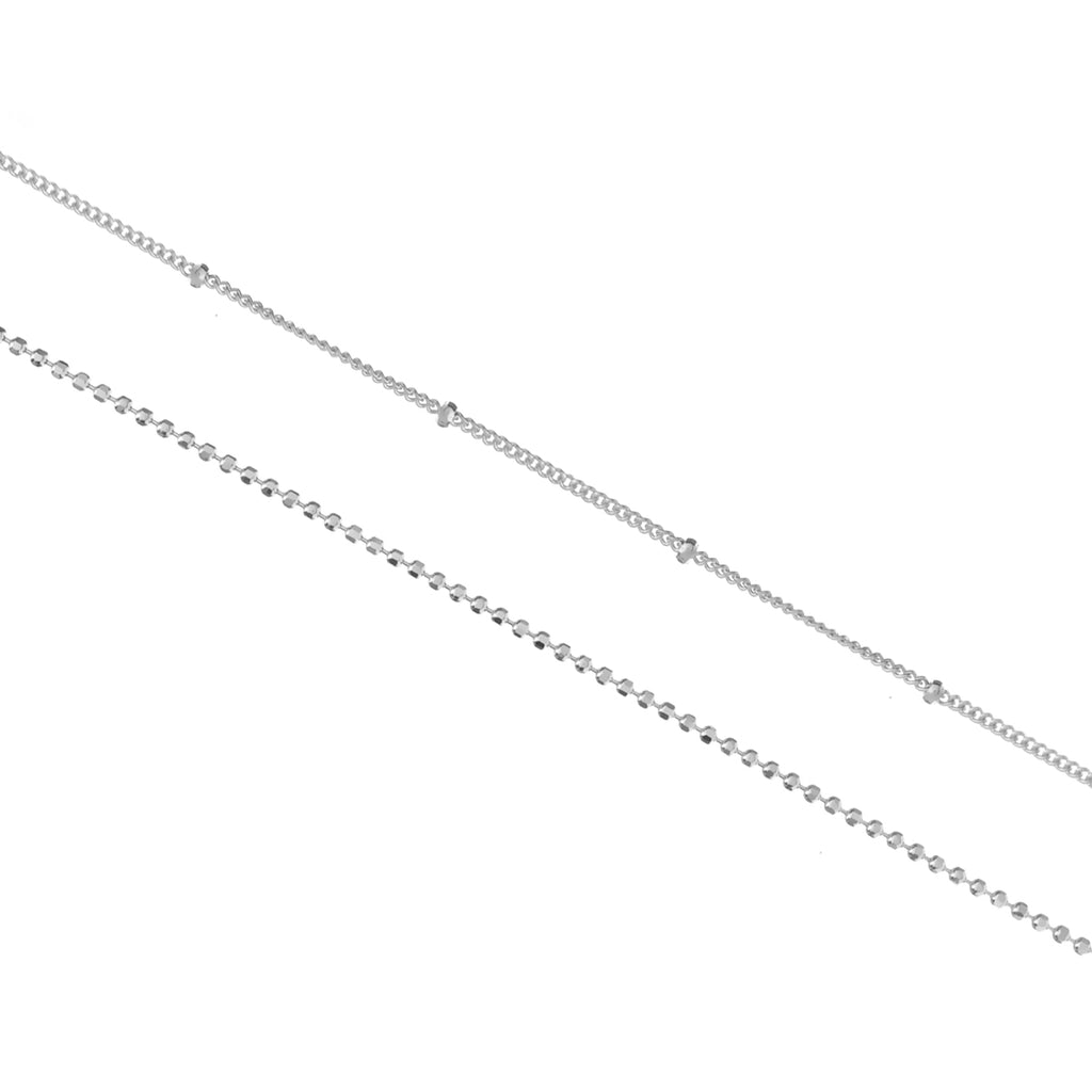 Parallels Double Chain Anklet - silver