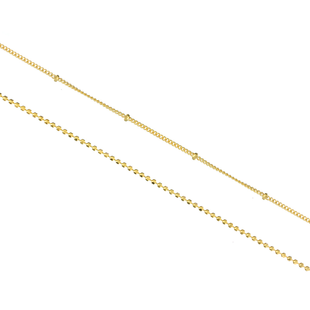 Parallels Double Chain Anklet - gold