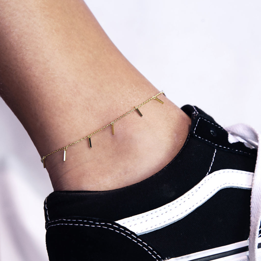 Voyage Sequin Bar Anklet on model - gold