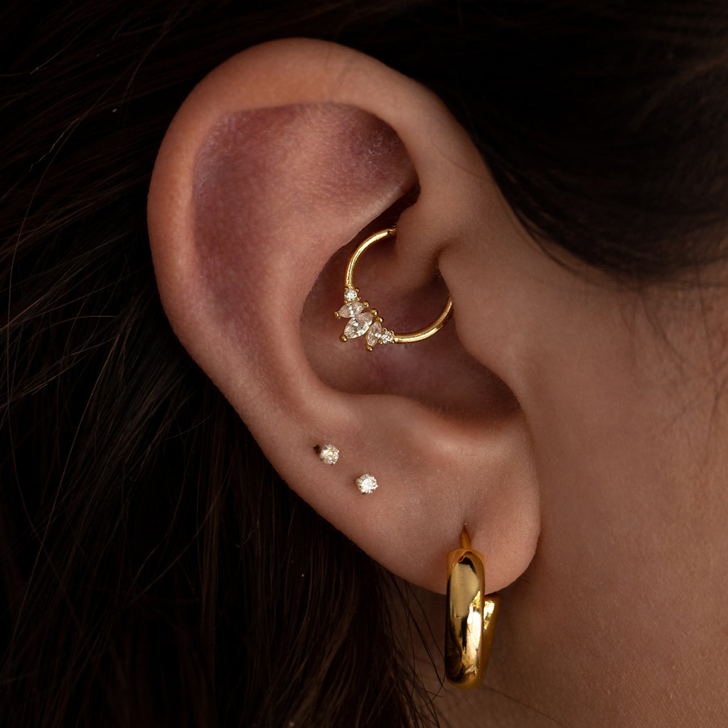 Forever Hoop Ear Piercing on model - 14KT solid gold