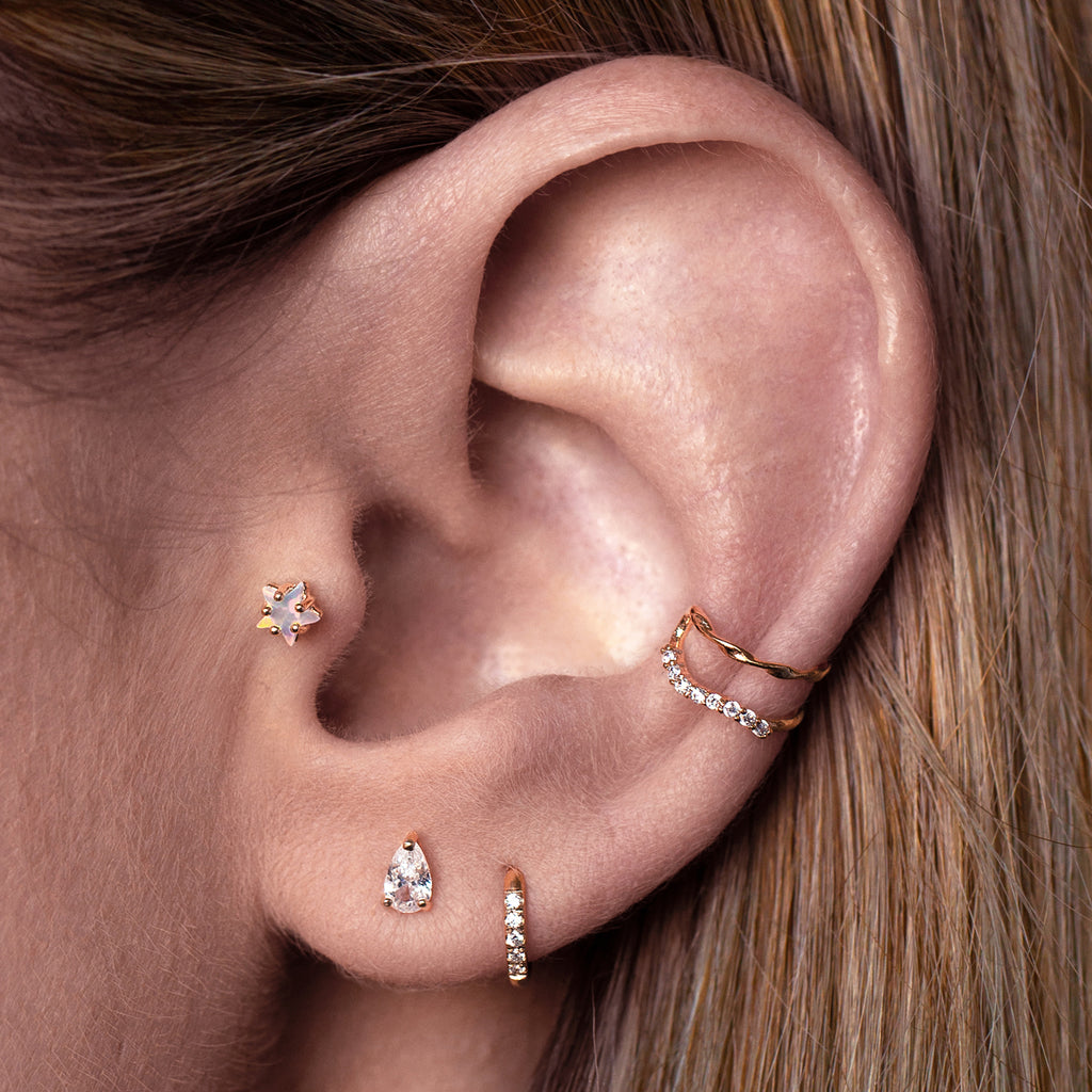 Gemini Ear Cuff on model - rose gold