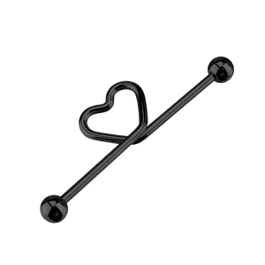 Heart Knot Industrial Ear Piercing - black