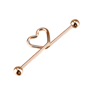 Heart Knot Industrial Ear Piercing - rose gold