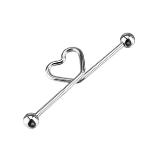 Heart Knot Industrial Ear Piercing - silver