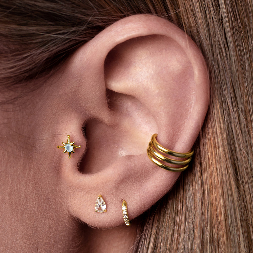 Rini Triple Band Ear Cuff on model - gold