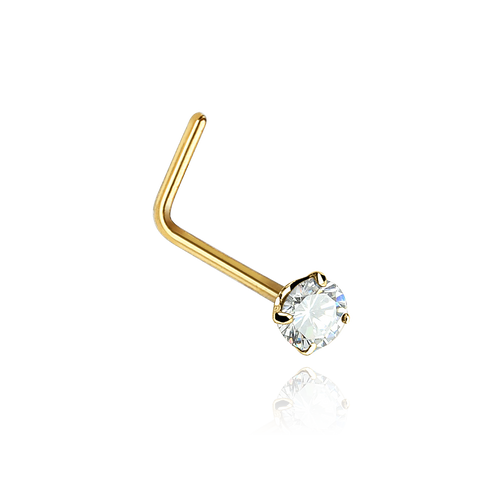 Solitaire Gem Nose Stud - solid 14k gold