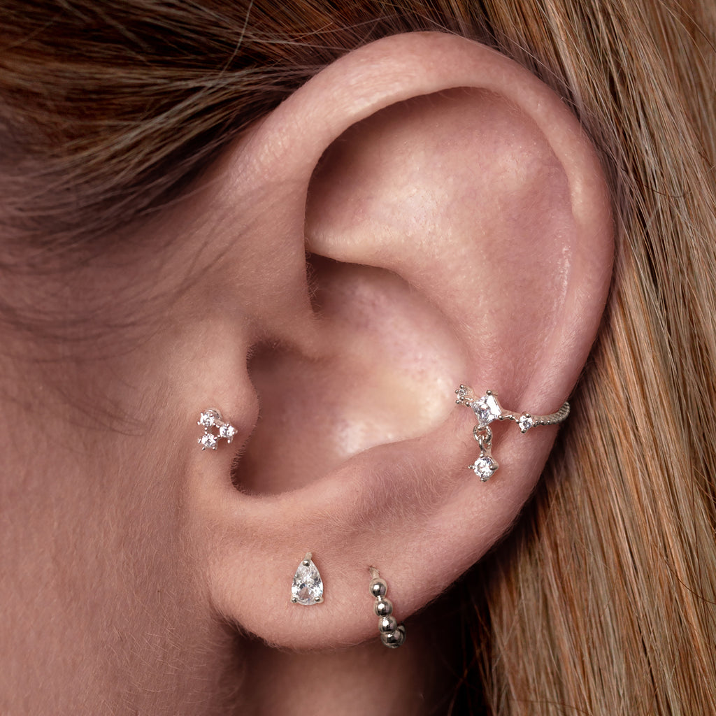 Lucia Gemstone Ear Cuff on model - silver