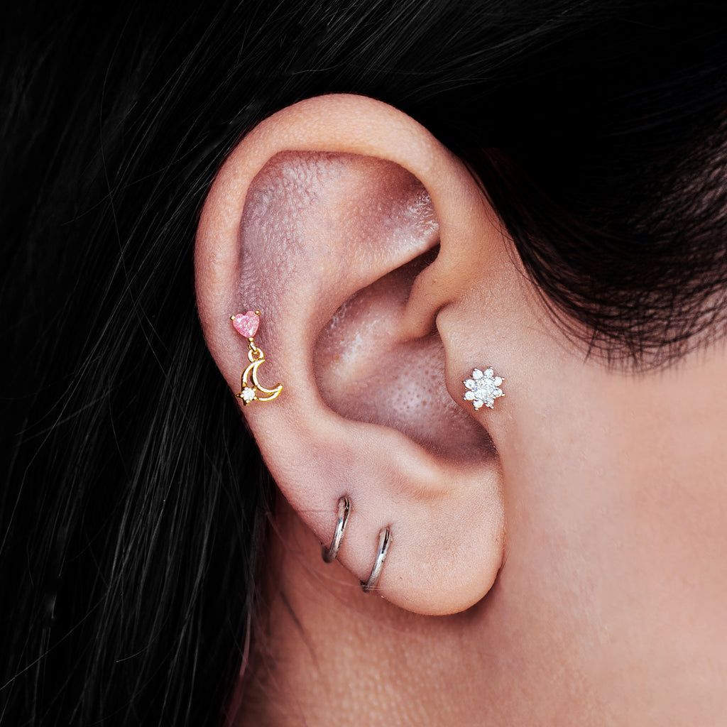 Midnight Lover Tragus Helix & Conch Piercing on model - gold