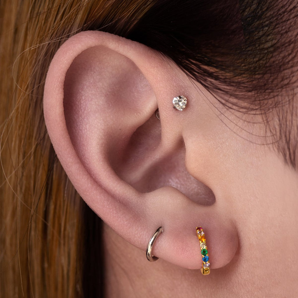 Lust Heart Gem Tragus Helix & Conch Piercing on model - silver