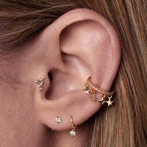 Arcadia Gemstone Tragus Helix & Conch Piercing on model - rose gold