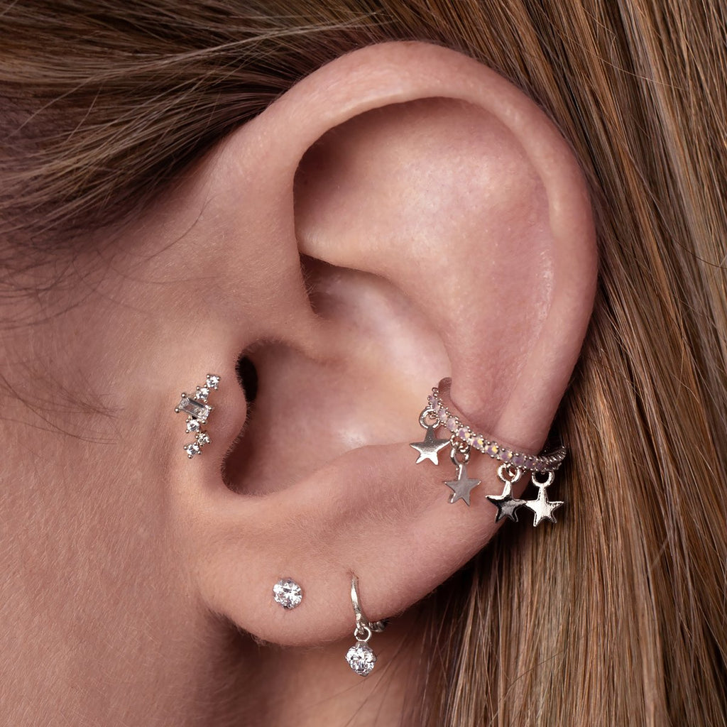 Arcadia Gemstone Tragus Helix & Conch Piercing on model - silver