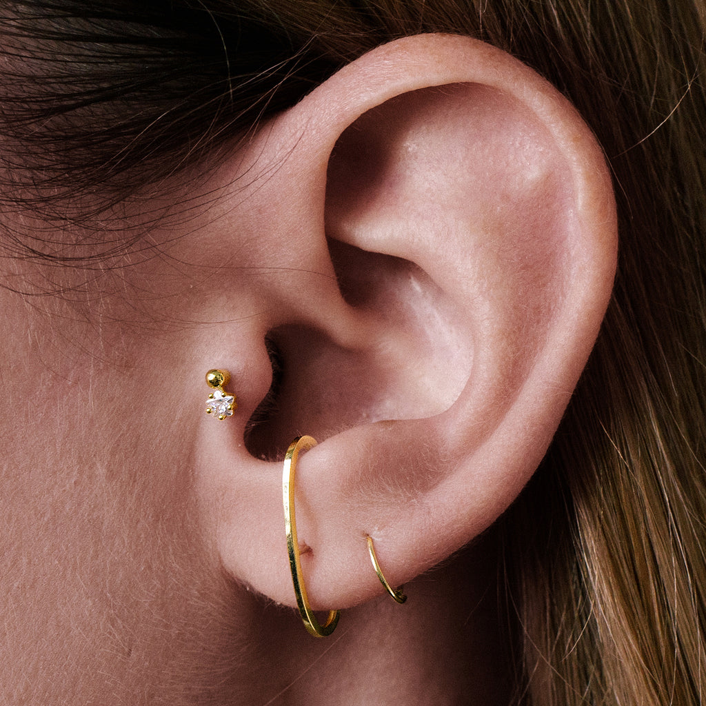 Bliss Cuff Helix & Cartilage Ear Piercing on model - 14Kt solid gold