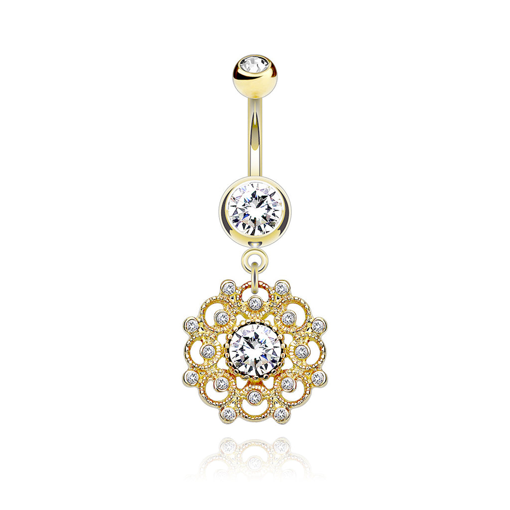 Camellia Floral Gem Belly Bar - gold