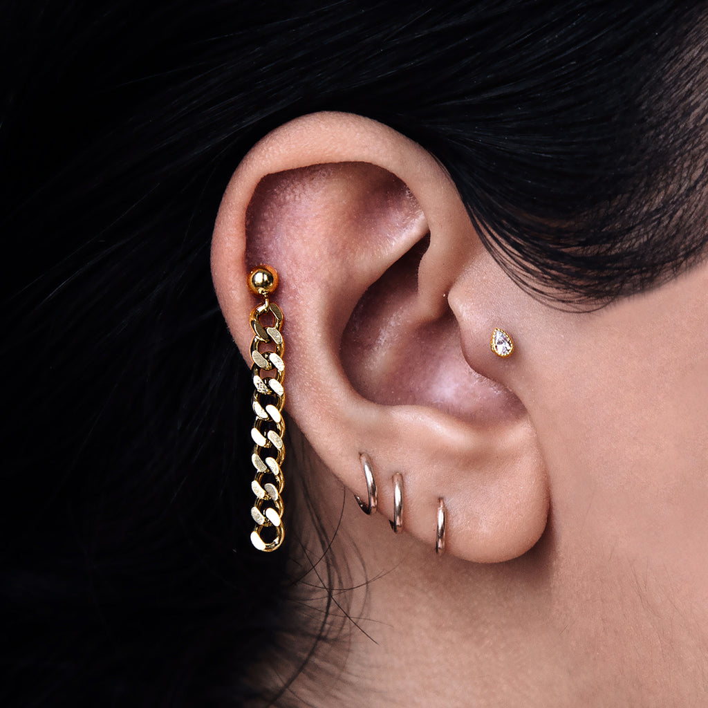 Chain Dangle Ear Piercing on model - gold