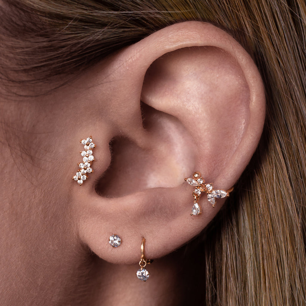 Clover Chain Tragus Helix & Conch Piercing on model - rose gold