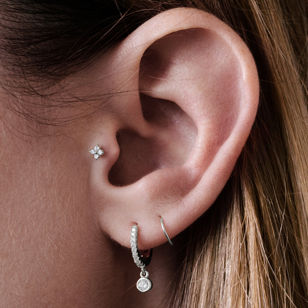 Clover Tragus Helix & Cartilage Ear Piercing on model - silver