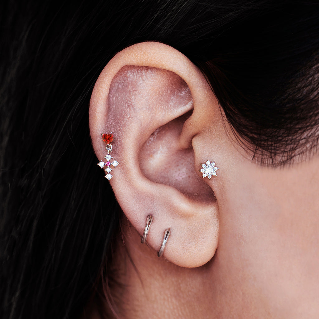 Heart Cross Gem Tragus Helix & Conch Ear Piercing on model - silver