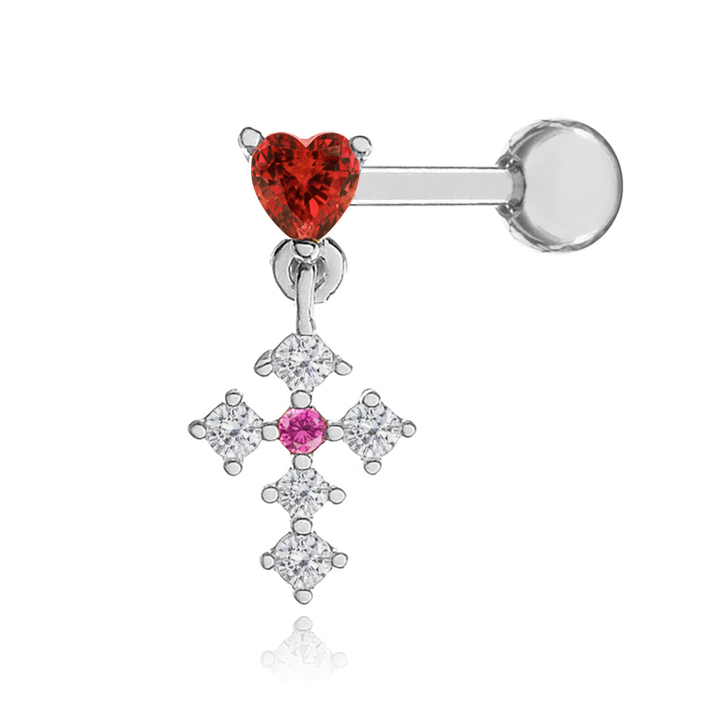 Heart Cross Gem Tragus Helix & Conch Ear Piercing - silver