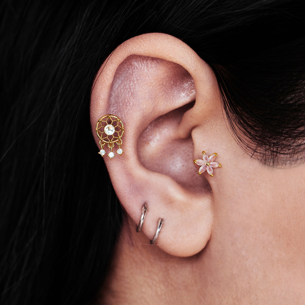 Dreamcatcher Tragus Helix & Conch Ear Piercing on model - gold