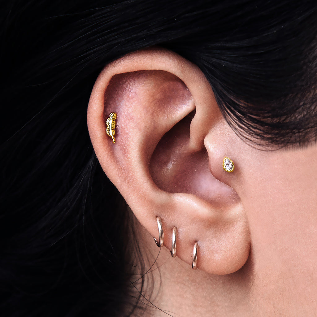 Feather Tragus Helix & Conch Ear Piercing on model - gold