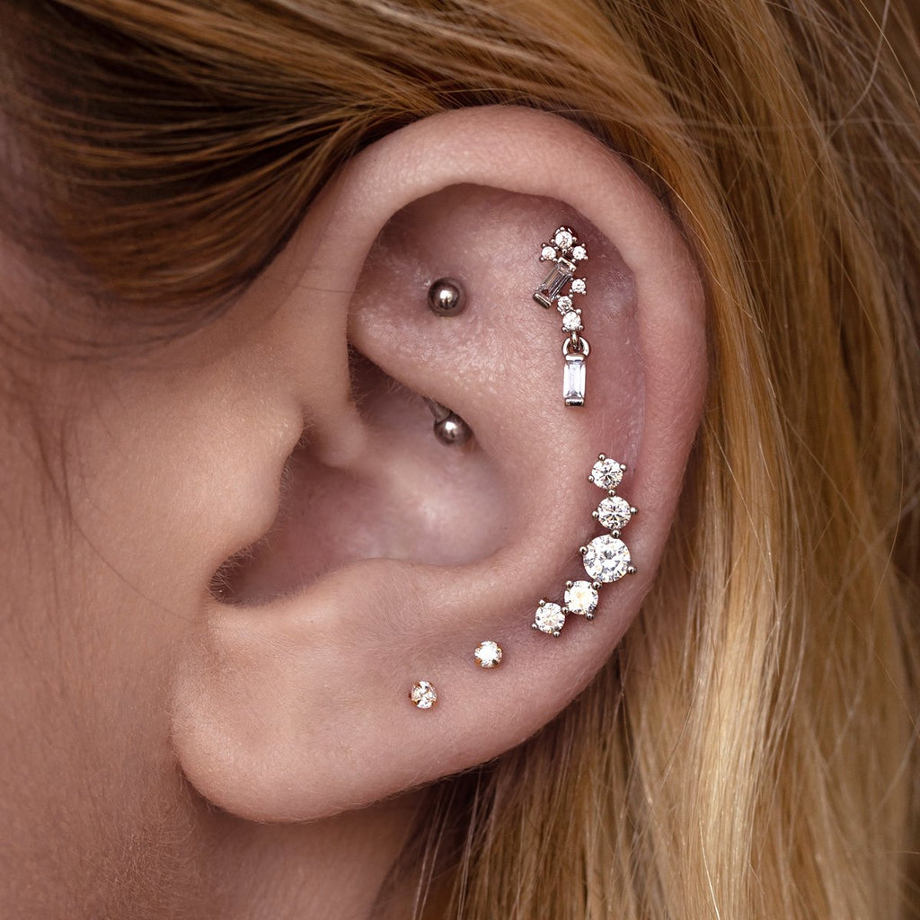 Focus Gemstone Tragus Helix & Conch Piercing on model - silver