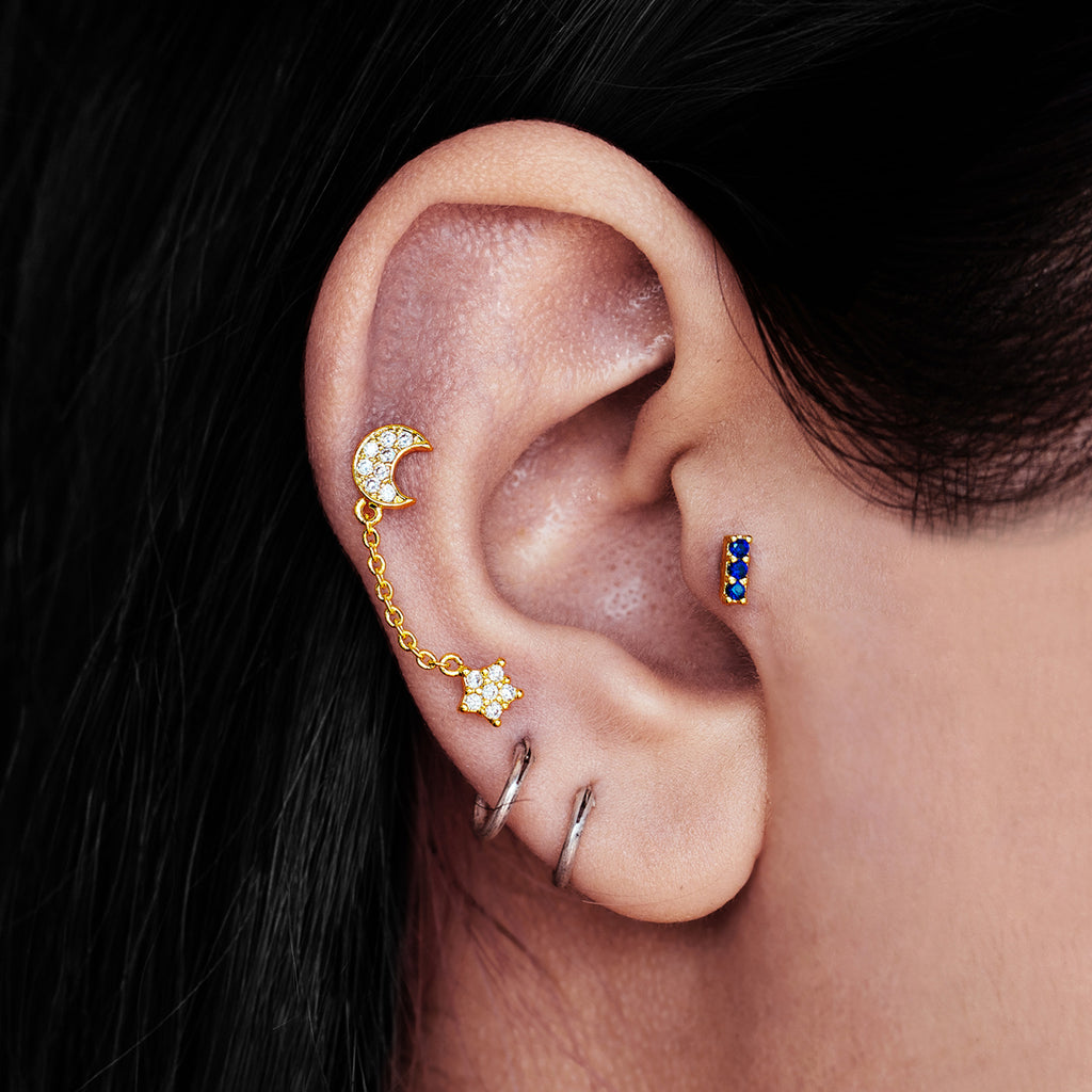 Goddess Sparkle Moon Chain Ear Piercing on model - gold