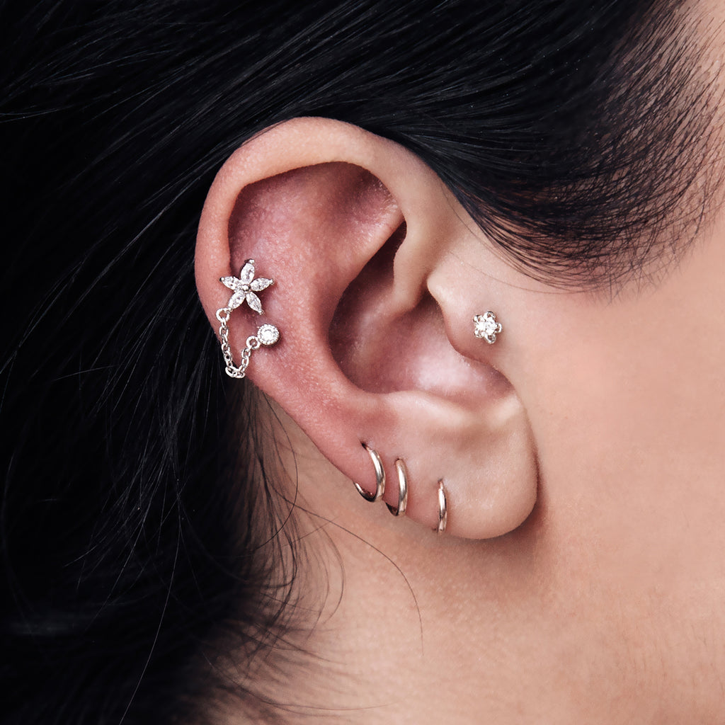 Hibiscus Chain Piercing - Rose Gold