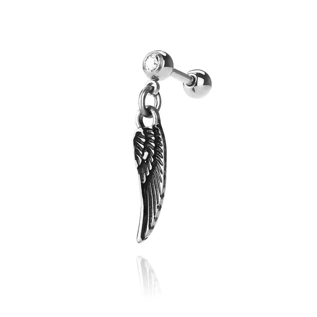 Homeward Wing Dangle Piercing - silver