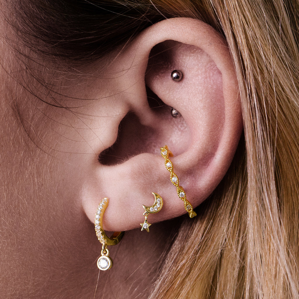 Infinity Gem Helix & Cartilage Ear Cuff Piercing on model - gold