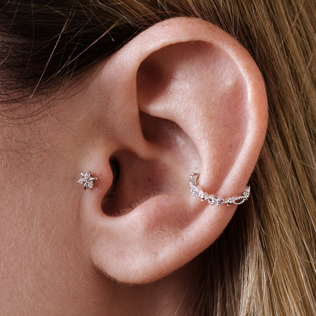 Jasmine Tragus Helix & Conch Ear Piercing on model - silver